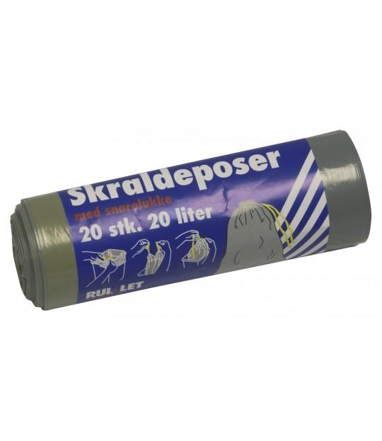Søppelpose m_snørelukking, 20 ltr. 20 stk