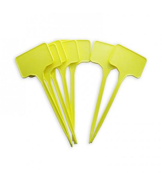Etikett plast m/plate rett 30 cm Gul, 100 stk