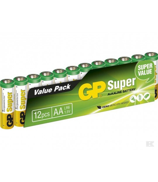Batteri GP Super Alkaline AA/LR6, 1,5 V, 12-pakk