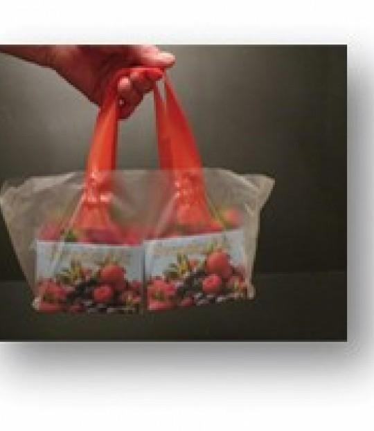 Bærepose strawberry for 2 kurver, 1000 stk