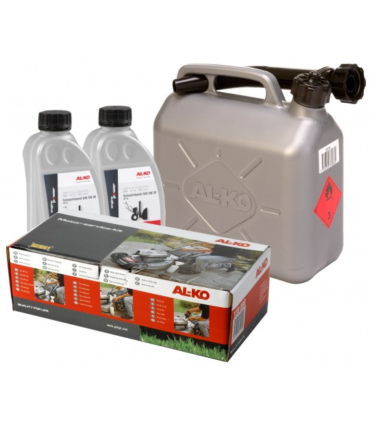 Startsett AL-KO med olje, bensinkanne m.m.