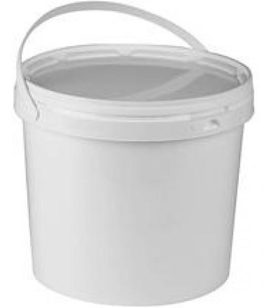 Bærspann kvit plast 6 ltr. m/plasthank m/lokk